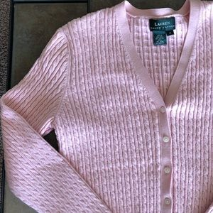 LAUREN RALPH LAUREN Pink Cable Knit  Sweater M
